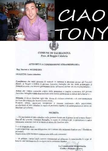 Tony Battaglia, oggi i funerali nell'aula consiliare del municipio