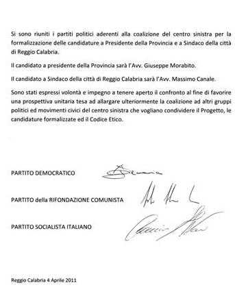 Reggio Calabria, raggiunto l'accordo politico tra Pd,Psi e Prc