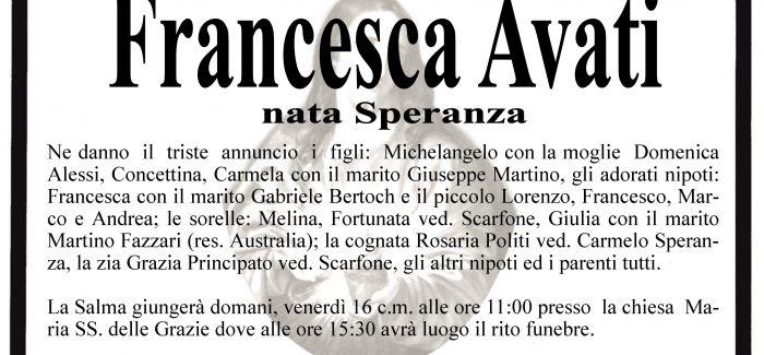 Taurianova, è venuta a mancare Francesca Avati Il rito funebre avrà luogo domani alle 15.30
