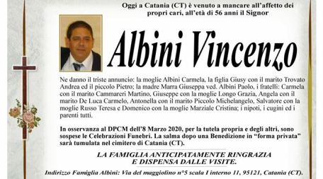 """È morto Vincenzo Albini La salma dopo una benedizione """"forma privata"""" sarà tumulata nel cimitero di Catania"""