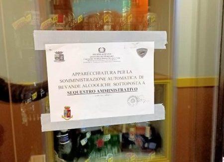 Anche a Lamezia Terme la Polizia di Stato sequestra distributori automatici Erogavano alcoolici dopo la mezzanotte