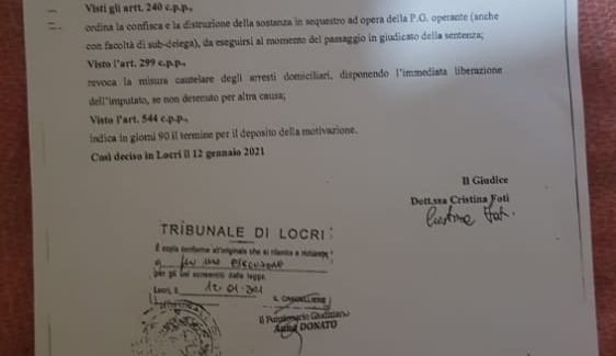 Ibrahim Jallow, assolto per il reato di spaccio marijuana Difeso dall'avv. Vincenzo Pizzari del foro di Catanzaro