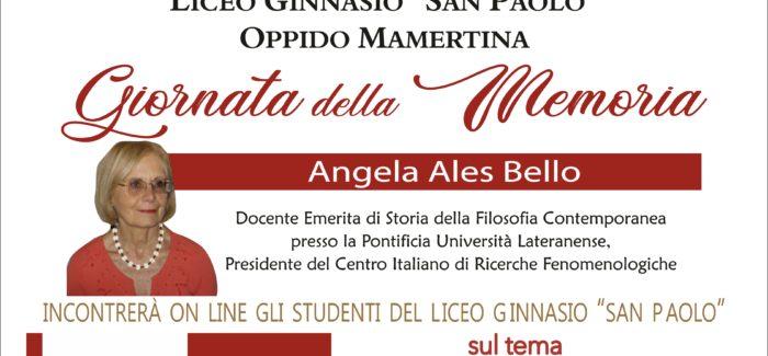 """Il Liceo Ginnasio """"San Paolo"""" di Oppido Mamartina celebra la Giornata della Memoria con la Filosofa Angela Ales Bello"""