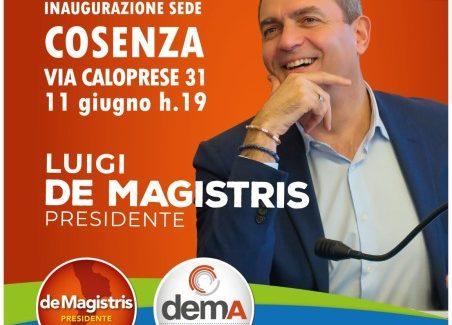 Luigi de Magistris, Venerdi 11 giugno alle 19 a Cosenza Si intratterrà nel piazzale antistante la sede per un incontro pubblico.