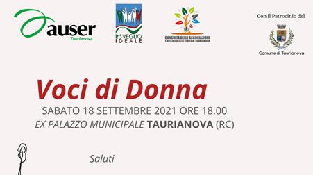 Voci di Donna: a Taurianova il 18 settembre un incontro sulla violenza di genere Auser e Risveglio Ideale insieme per sensibilizzare la società civile